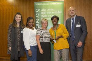 Siobhan McKeown, Juliana Olubi-Idowu, Ruth Mccarroll, Winsom Robotham and the Howard League award giver
