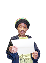 A young man holding a letter