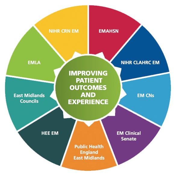 Image of a wheel showing a list of partners: Improving patient outcomes and experience HIHR CRN EM EMAHSN NIHR CLAHRC EM EM CNs EM Clinical Senate Public Health England East Midlands HEE EM East Midlands Councils EMLA