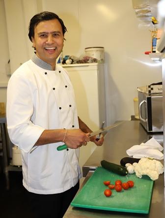 Kuldeep Raj in his kitchen
