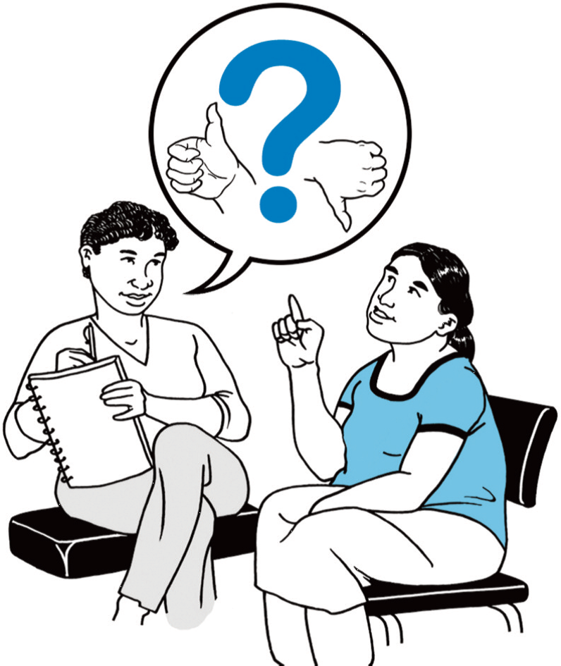 Image showing two people invovled in a conversation. Links to the easy read PDF of document 'titled 'survey for patient, carers and service users'