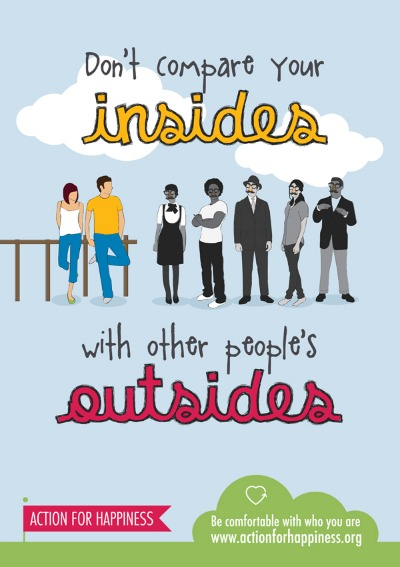 Image showing the saying 'Don't compare your insides with other people's outsides'