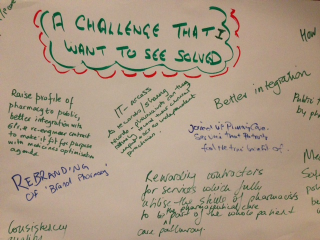 Image of the graffiti wall at the Improving health and patient care through community pharmacy – a call to action event in London on 12 March