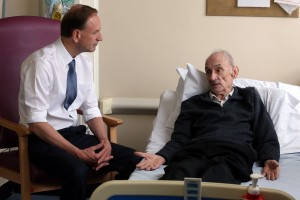 The new Chief Exec of the NHS Simon Stevens pays a visit the Shotley Bridge Hospital in County Durham.