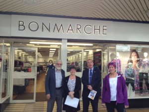 Joy and Tony Watson with me and Yvonne outside Bonmarche