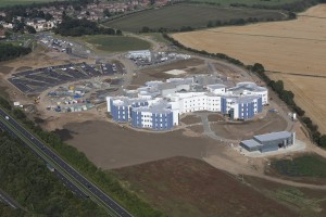 Ariel view taken in October 2014 of the construction of Cramlington hospital
