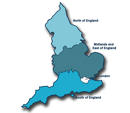 Map showing four NHS England regions