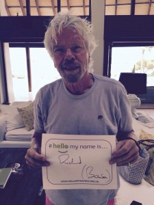 Image of Richard Branson with the hellomynameis poster