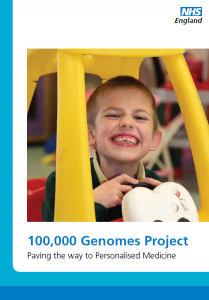 Image of the front cover of the report '100K Genomes Project Paving the Way to Personalised Medicine'