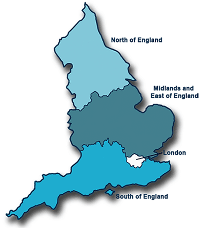 Map showing the 4 NHS England regions