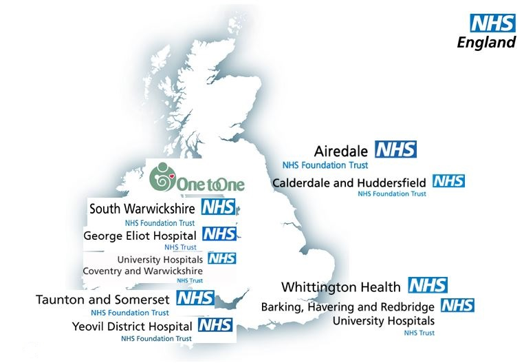 Map of the UK show an approx location for the pilot sites. Airedale NHS Foundation Trust, Calderdale and Huddersfield NHS Foundation Trust, University Hospital Coventry and Warwickshire, South Warwickshire Foundation Trust, George Eliot Hospital Trust & Coventry University, Taunton and Somerset NHS Foundation Trust and Yeovil District Hospital NHS Foundation Trust, Barking, Havering and Redbridge University Hospitals NHS Trust and Whittington Health NHS Trust