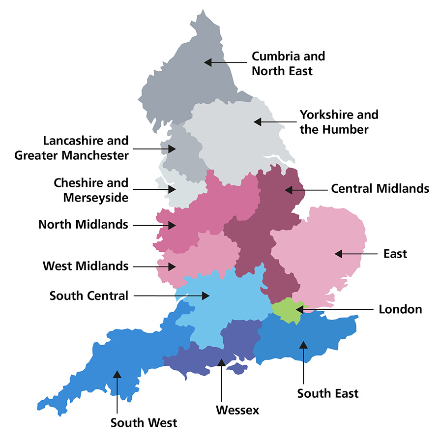 Map of England showing the outlined regional areas