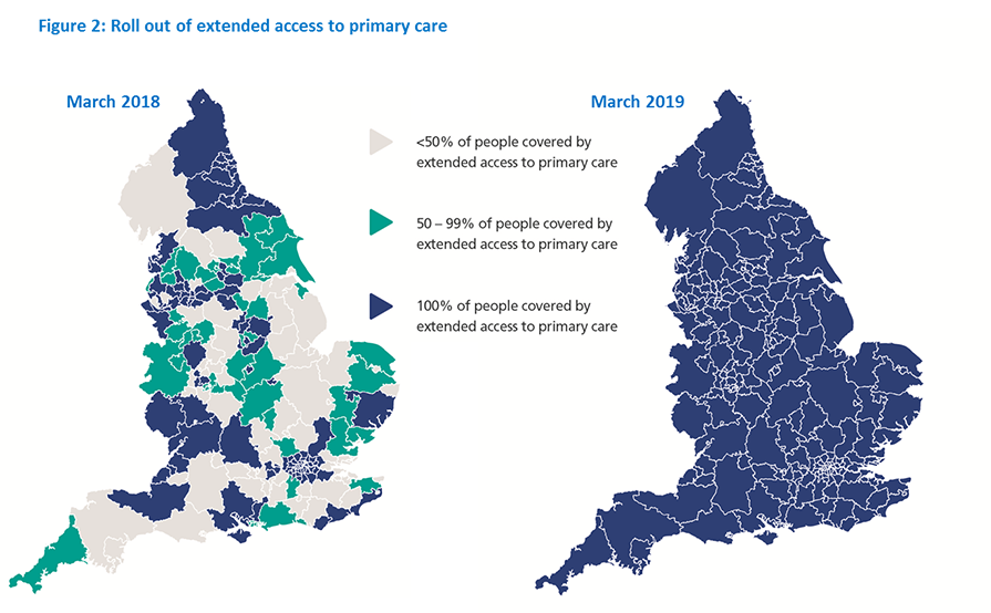 A map of England which shows the roll out of extended access to primary care between March 2018 and March 2019