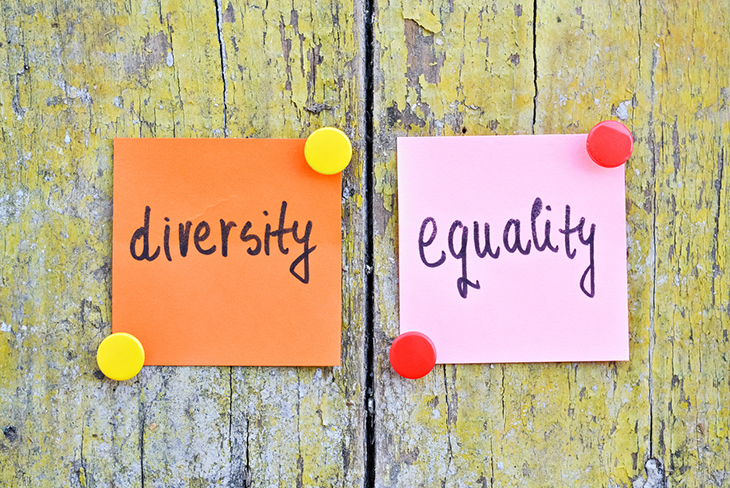 Stickers showing the words equality and diversity