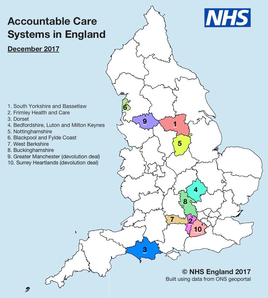 map of england showing the accountable care systems locations numbered from 1 to 10