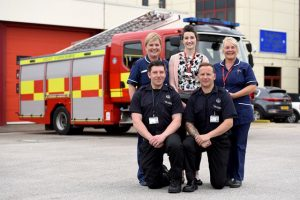 Front row (left to right): Leon Dentico and Neil Rhodes from West Yorkshire Fire and Rescue Service Back row (left to right): Jo Corbett District Nurse Team Leader, Rachel Morris Falls Prevention Nurse, Jacqueline Critchlow, District Nurse from Bradford District Care Foundation Trust