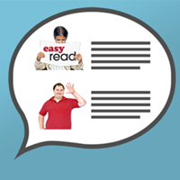 Speech bubble containing the word easy read
