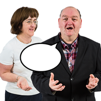 Two people with an empty speech bubble, their arms outstretched and palms upturned
