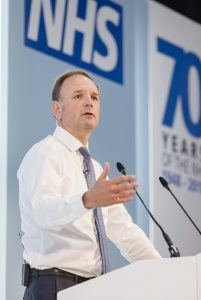 Simon Stevens addresses the audience at Expo