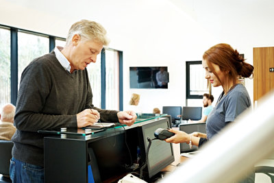 Man registering with a dentist