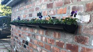 Flower box on a brick wall
