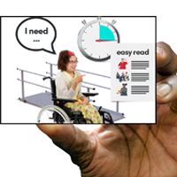 "A hand holding a card that shows a lady in a wheel chair saying ""I need..."""