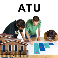 "A building with a fence around it with a sign ""ATU"". Three people looking at a graph that shows a dramatic increase."