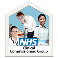 "Three NHS professionals with the label ""NHS Clinical Commissiong Group"""
