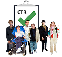 A group of people, including a man in a wheelchair, a male nurse and in the background a clipboard with the initials CTR and a big green tick
