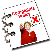 Booklet with woman with thumbs down and words 'complaints policy'.