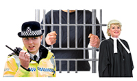 Somebody behind bars with a barrister and a policeman in front of the bars