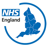 Diagram of England next to an NHS logo