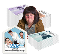 A woman surrounded by piles of money and a group of people with the words NHS Clinical Commissiong Group