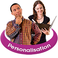 "Two people, one person thinking and another writing in a folder, with the word ""Personalisation"" underneath"