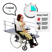"Girl in a wheel chair, with a speech bubble that says ""I need"""