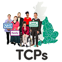 A group of people each labelled either NHS, Family or Local Council, coming together above the word TCP. There is a map of England in the background.