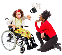 Picture of woman in a wheelchair throwing a cup at a memeber of staff.