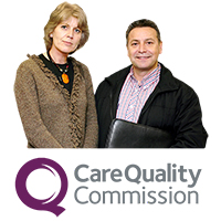 Man and woman with Care Quality Commission logo.