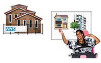 Picture of woman pointing to a house where she wants to live, not in hospital.