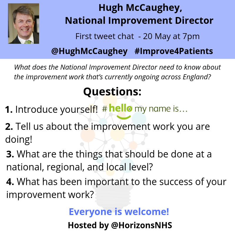 Tweet chat four questions: Introduce yourself; tell us about the improvement work you are doing; what are the things that should be doe at a national, regional and local level; what has been important to the success of your improvement work?
