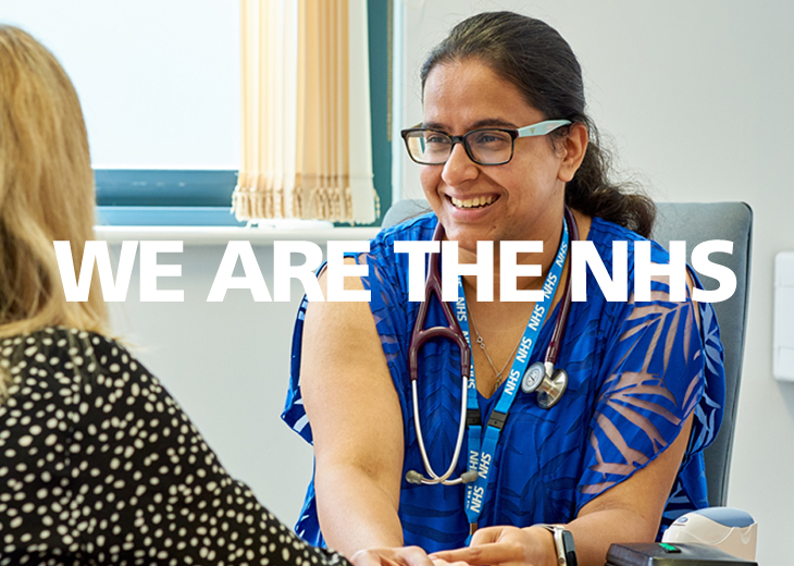 Female nurse talking to a female patient with the words we are the nhs