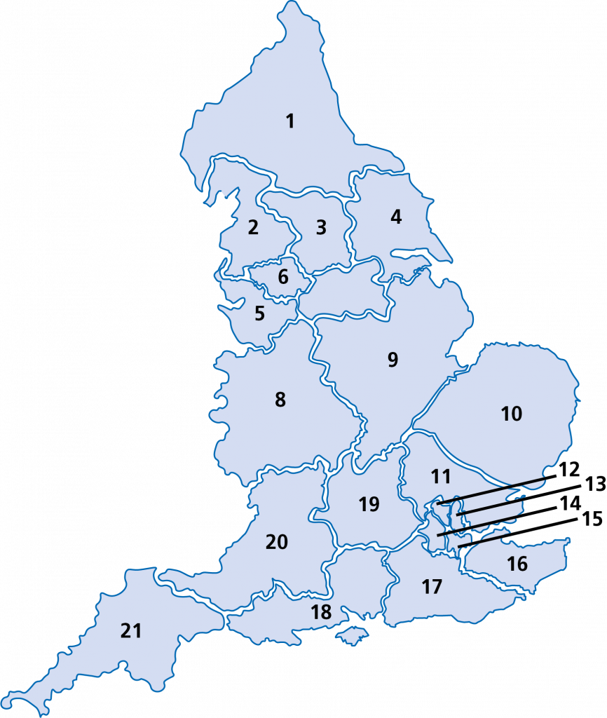 Map of Cancer Alliances in England numbered from 1 to 21