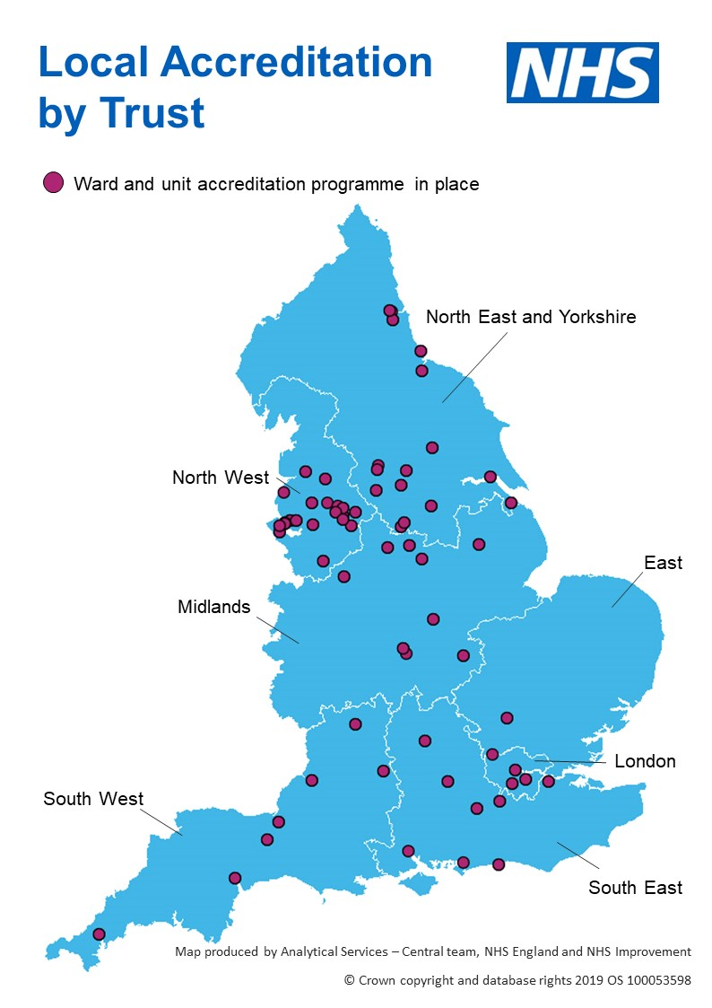 An image of the map of England with Local Accreditation activity identified using burgundy coloured dots.
