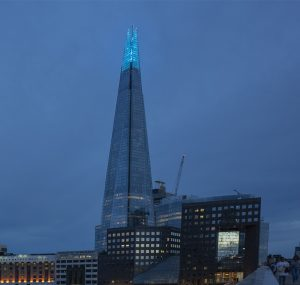 The shard, London, lit up blue
