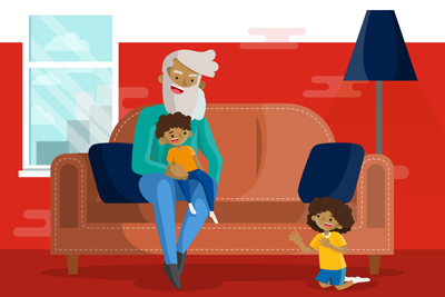 parent and children sitting on the sofa