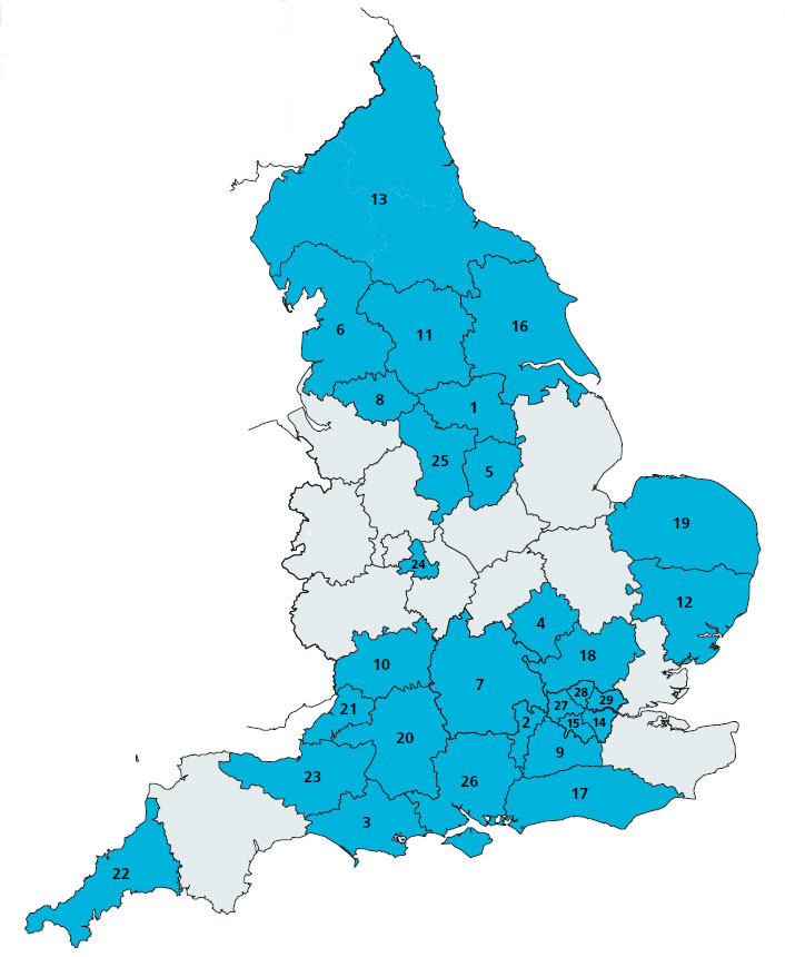 Map showing where the 29 integrated care systems are within England.