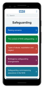 Image of the NHS England Safeguarding app on a mobile device