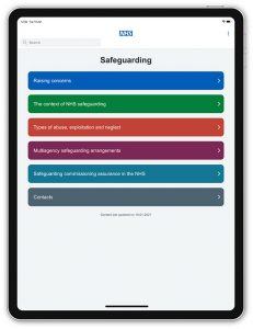 Image of the NHS England Safeguarding app on a tablet