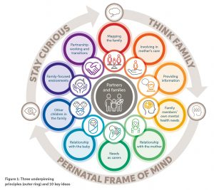 This circular figure outlines the interconnectivity of the three underpinning principles of working with partners and families in the perinatal period which are 'stay curious', 'think family' and the 'perinatal state of mind.' In the inner ring, the 10 key ideas are outlined, they are: mapping the family, involving in mothers care, providing information, family members' own mental heal needs, relationship with the mother, needs as carers, relationship with the baby, other children in the family, family focused environments and partnership working and transitions.
