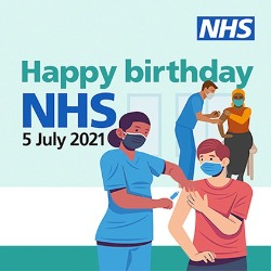 Image of the NHS Birthday 2021 showing a healthcare professional vaccinating a patient